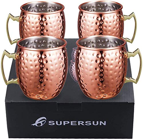 SUPERSUN Moscow Mule Mugs, Moscow Mule Cups Set of 4 Handcrafted Cocktail Copper Mugs,18oz 500ml Gift Set for Light Lager Beer, Party Mug, Bar Set
