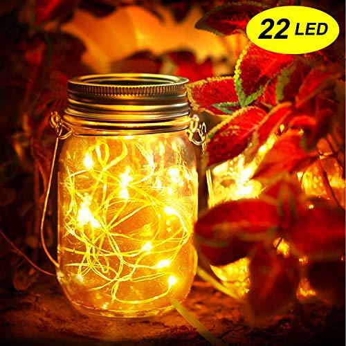 Mr.Twinklelight® Solarlampe/Solar-Laterne,22 LED Solar Lichterkette Original Solarglas Dekoration für Weihnachten,Gartendeko,Außen, Hof, Hochzeit, Party,Wand,Baum etc(Warmweiß)