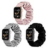 Compatible for Scrunchie Apple Watch Band 38mm 42mm 40mm 44mm Cute Print Elastic Watch Bands Women Bracelet Strap Compatible for Apple iWatch Series 6 5 4 3 2 1(3 Pack-K, 38/40mm-Small)