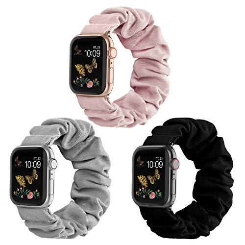 Compatible for Scrunchie Apple Watch Band 38mm 42mm 40mm 44mm Cute Print Elastic Watch Bands Women Bracelet Strap Compatible for Apple iWatch Series 6 5 4 3 2 1(3 Pack-K, 42/44mm-Large)