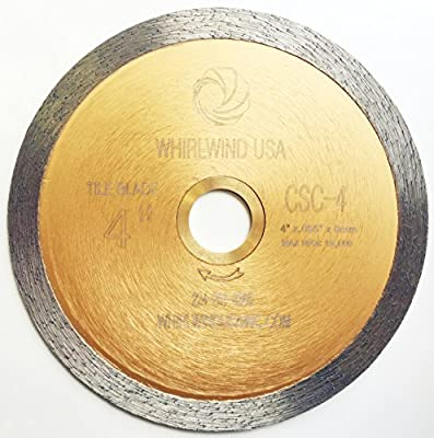 Whirlwind USA LCPC Wet Tile Cutting Continuous Rim Diamond Tile Saw Blades for Materials with Porcelain and Glass Included
