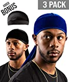 Premium Velvet Durag For Men by ROYAL WAVES | Pack Of 3 | Blue & Black Wave Caps + Bonus Dome Cap | Extra Long & Wide Straps, One Size Fits All | Deluxe Supreme Rags For 360 Waves & Wavebuilder