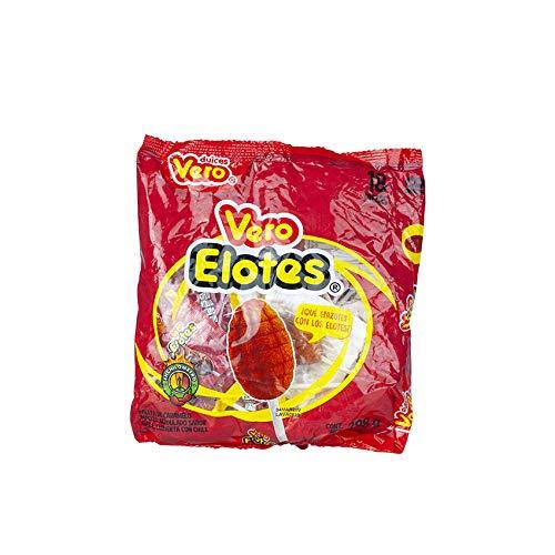 Mexikanischer Lutscher mit Erdbeergeschmack, überzogen mit Chili, Pack mit 18 Einheiten, 288g - Paleta VERO ELOTES Sabor Fresa con Chile 288g