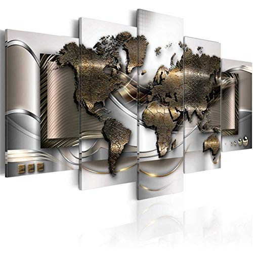 WACZJ 5 lienzos 5 Piezas Modern Wall Art Metallic Abstract Canvas Painting World Map Carteles e Impresiones Cuadros modulares para la decoración de la Sala de Estar (sin Marco)