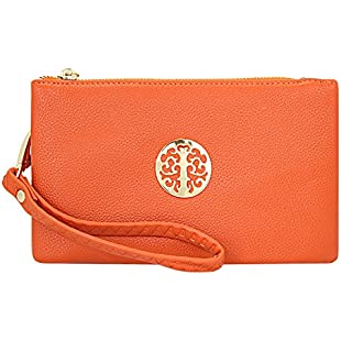 Orange Handbag, clutchbag, Wristlet Clutch with Shoulder Strap Fit Phone
