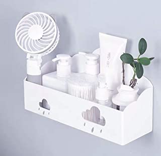 LittleMU Bedside Shelf Accessories Organizer, White Wall Mount Stick on Floating Shelves for Phone, iPad, Remote, Glasses in Bedroom, Dorm (Cloud)