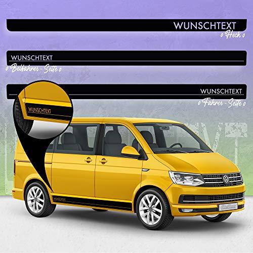 Auto-Dress® Seiten-Streifen Aufkleber Set/Dekor passend für VW T4, T5 & T6 Bus in Wunschfarbe - Motiv: Wunschtext (070M Schwarz-Matt, Radstand: Kurz)