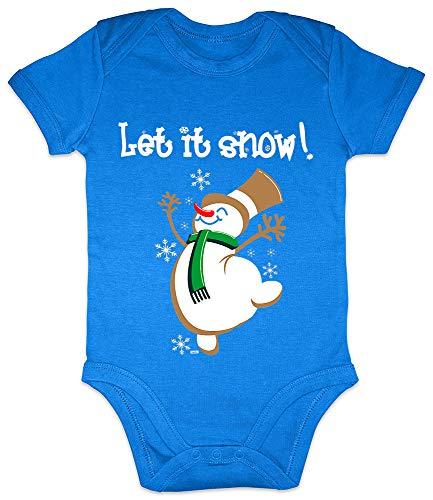 Hariz - Body de manga corta para bebé con texto 'Let It Snow', regalo de Navidad, árbol de Navidad, incluye tarjeta de regalo Royal Königs azul, 6-12 meses