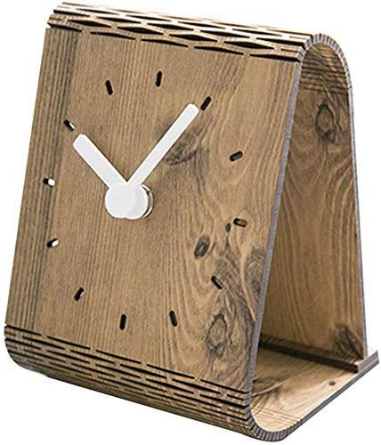 YEESEU Silencio Servicio de decoración Minimalista Moderna de Estados Unidos Árabe Reloj de Escritorio Digital de decoración de Escritorio Dormitorio (Color: Marrón)