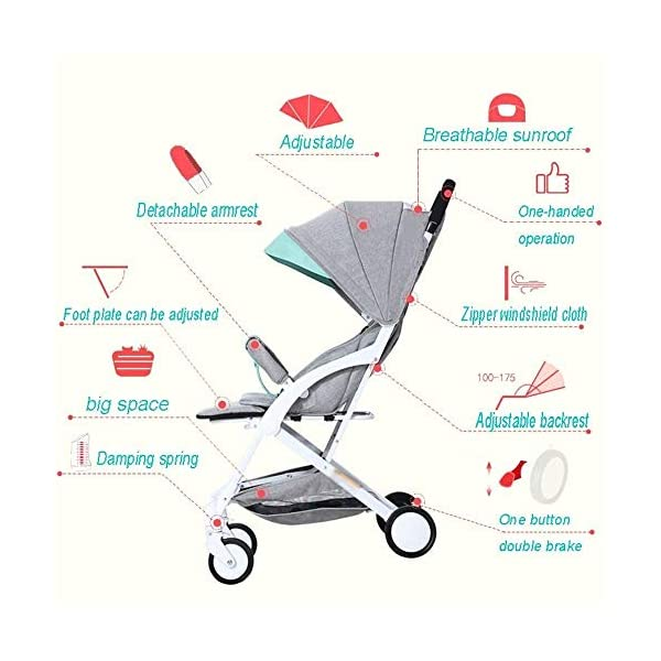 LAMTON Baby Stroller for Newborn, Stroller, Lightweight Pushchair Compact Buggy Foldable Suitable for Airplane,49x71x104cm (Color : Gray) LAMTON Adjustable handlebars for people of all heights can adjust the most comfortable push position Easy to fold, can be picked up in the trunk of the car, his parents urge him to go shopping, travel, walk, play and talk, or picnic outdoors - Quick folding system. It can be operated with one hand and folded with a lever to stand. The weight is 5.8KG and is light! 5