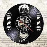 WERWN Reloj de Pared de Pelo Colgante acrílico silencioso Retro salón de Belleza Reloj de Pared con Disco de Vinilo Negro 3D