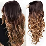 AISI QUEENS Ombre Wigs Long Curly Middle Part Wig 2 Tone Reddish Brown Wavy Wigs for Women Synthetic Heat Resistant Cosplay Daily Wigs Natural Looking