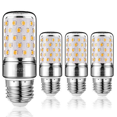 Yiizon LED M Glühbirne, E27, 12W, entspricht 100 W Glühlampe, 3000 K Warmweiß, 1200LM, CRI>80 +, kleine Edison-Schraube, nicht dimmbar Kandelaber LED Glühlampen(4 PCS) (Warm Weiß E27)