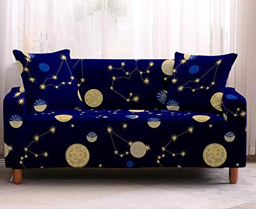 Sofabezug Für Sofa,Rutschfester Blauer Sternenhimmel Sesselbezug,Weicher Wasserdichter Protektor,Haltbarer Spandex-Haustierschutz,Für Wohnzimmersofa Waschbarer Kissen-Sitzbezug,1,Sitzer(90,140Cm)