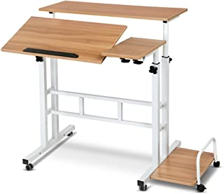 Mobile Portable Laptop Desk Computer Office Stand Workstation Adjustable Table Light Wood Grain