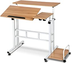 Mobile Portable Laptop Desk Computer Office Stand Workstation Adjustable Table Light Wood Grain