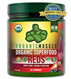 Certified Organic Superfood Reds Powder | Vital Reds Juice Supplement for Detox, Energy, Focus, Digestion, Metabolic Boost & Anti-Aging | Vegan, Non-GMO, Berry Flavor, 30 Day Supply | ORGANIC MUSCLE