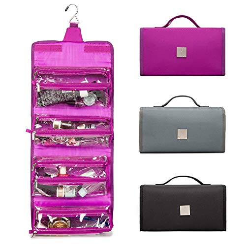 ROYALFAIR Toiletry Bag for Women 4-in-1 Roll-Up Make Up Organizer and Travel Bag - 4 Removable Carry On Pouches Cosmetic Bags (Purple)