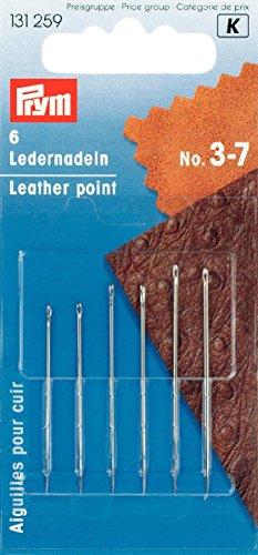 Prym 131259 Ledernadel, 6 Stück, silberfarbig (No 3-7)