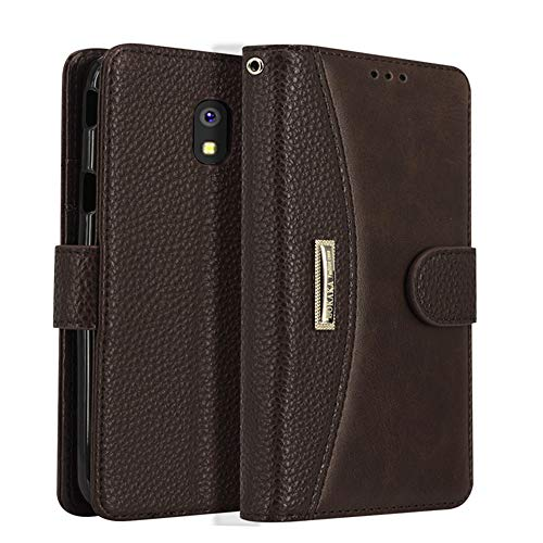 Galaxy J7 2018 Case/J7 V Case 2018/Galaxy J7 Refine Case/Galaxy J7 Star Case,LOKAKA Leather Wallet Case with Card Slot, Magnetic Flip Cover and Mobile Phone Stand for Samsung J7 2018,Brown