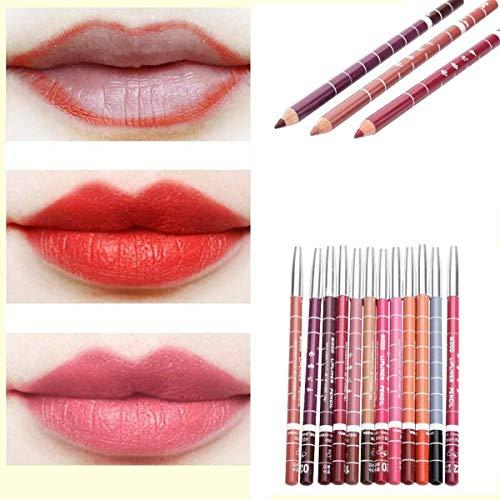 B-Artisan 12 Pièces Crayon à Lèvres Crayon Outils Etanche Lip Liner Multicolore Professionnel Imperméable Maquillage de Longue Durée Rouge à Lèvres Brillant à Lèvres Maquillage