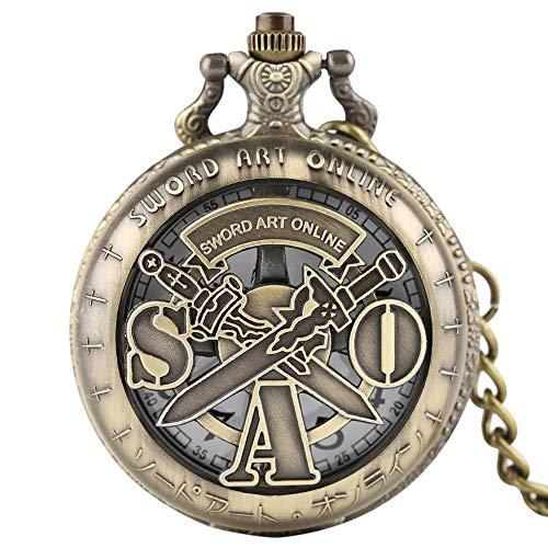 LXDDP Nuevo Steampunk Sword Art Online Reloj de Bolsillo de Cuarzo Hueco con Colgante de Collar de Cadena Regalos