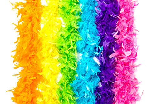 Neon Feather Boas - 6 Pack of 6 Feet Long Boas with Vibrant Colorful Feathers - Great for Costumes, Mardi Gras Outfits, and Party Favors - Ultimate Party Supplies