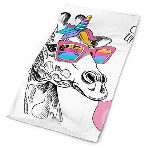 Dudifeng Fun Jirafa en gafas de arco iris con costuras elásticas, pañuelo versátil deportivo e informal, 24 x 50 cm