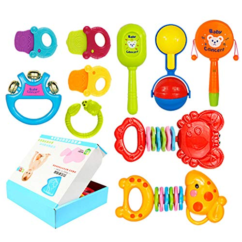 DirkFigge Baby Rattles Shaking Bell BPA-freies Greifspielzeug für Kleinkinder Frühes pädagogisches intelligentes Training für Kindertage, Weihnachten, Halloween, Erntedankfest und Neujahr