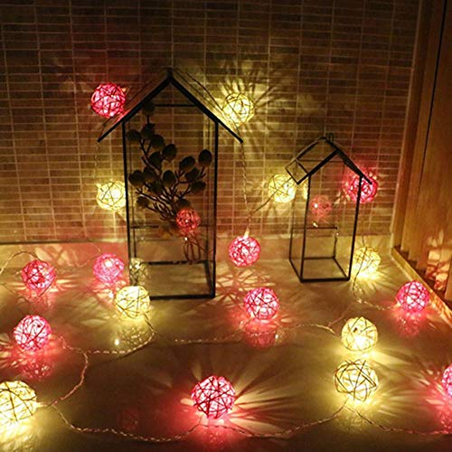 UTYING Battery-Powered LED String Lights, Rattan Ball String Lights, Warm White Fairy Light for Indoor,Bedroom,Curtain,Patio,Lawn,Garden,Wedding,Holiday,Christmas Tree,Party