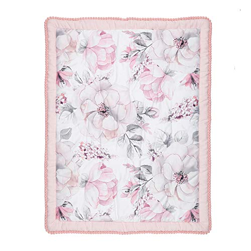 Lambs & Ivy Signature Botanical Baby Watercolor Floral Pink Crib/Toddler Quilt