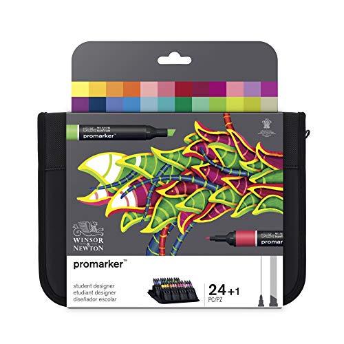 Winsor & Newton ProMarker Pack rotuladores de diseño para estudiantes, multicolor, Diseñador escolar, Set de 24