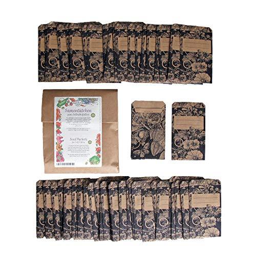 Samentütchen, Flachbeutel, Mini-Geschenktüte zum Selbstbefüllen und Beschriften für eigenes geerntetes Saatgut, Geschenke, Globuli - 100 Stück aus braunem, bedrucktem Packpapier