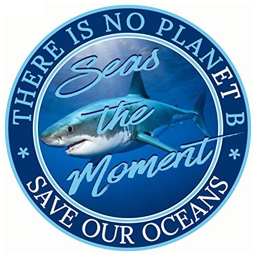 "Save The Sharks Sticker - Seas The Moment Vinyl Decal   Save Our Oceans & Sea Animals Climate Change Car Bumper Window Democrats Vote Joe Biden Kamala Harris Vice-President Better Than Magnet 3 x 3"""