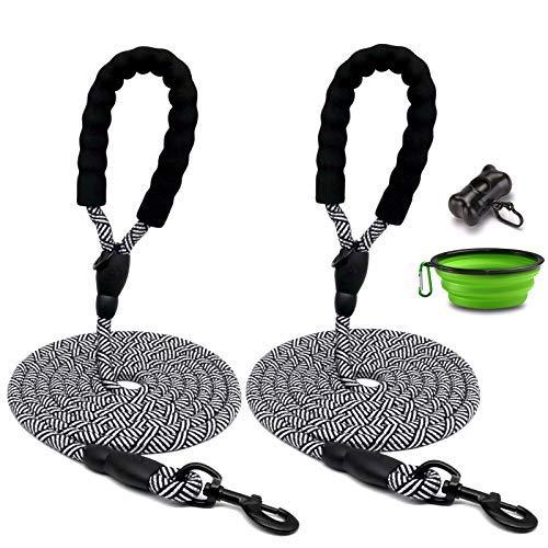 2 paquetes de 10 pies de cuerda para perro, correa de nailon resistente con asa acolchada cómoda y clip resistente