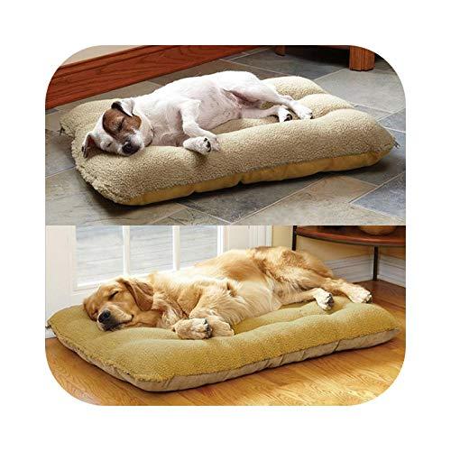 #N/D Colchoneta suave y cálida para perros de 2 lados disponible lavable, la cama para perros grandes, casa para gatos, cojín de color beige-120 80
