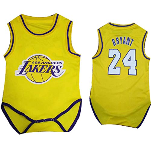 Jungen Basketball Jersey Lakers # Kobe Bryant Baby Siamesische Basketball Uniform Krabbelanzug, 123, gelb, 9(7~10kg)