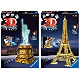 Ravensburger Puzzle Building 3D Night Edition: Estatua de la Libertad (12596), Color, Modelo Surtido + 3D Puzzle Building Tour Eiffel Night (12579 1), Color, Modelo Surtido