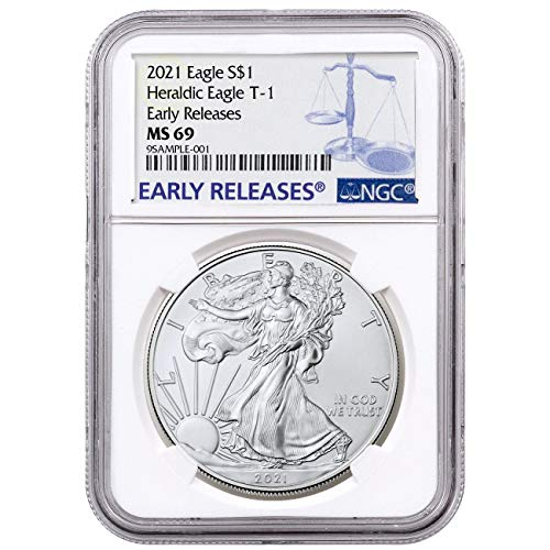 2021 Silver Eagle Early Releases Heraldic Eagle T - 1 Label Dollar MS69 NGC