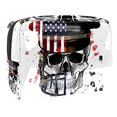Kleine Make-up Tasche Amerikanischer Schädelkrieger für Geldbeutel Reise Make-up Pouch Kosmetiktasche für Frauen Mädchen 18.5x7.5x13cm