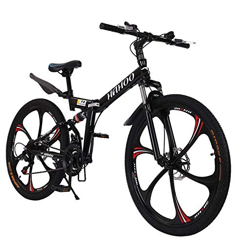 26 inch Adults Mountain Bike, Folding Bikes High-Carbon Steel Outdoor Adventures Wasteland Exercise Road Bikes with 21 Speed Dual Disc Brakes Full Suspension Non-Slip