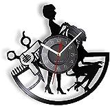 RFTGH Tijeras de peluquería de barbería, Equipo de peluquería Profesional, Equipo Femenino, Reloj de Pared, Registro de Vinilo, Reloj de artesanía