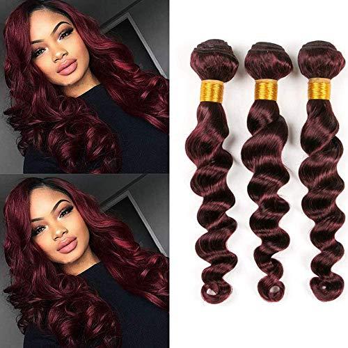 Burgundy Weave Extensions Loose Wave 99J Colored 100% Human hair Brazilian Loose Deep Wave Bundles 3 Pieces (10 10 10, 99j)