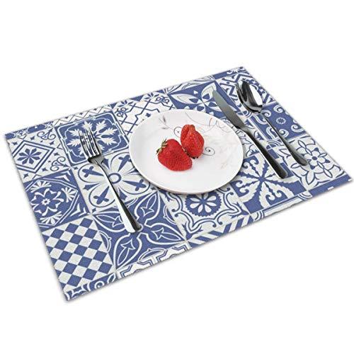 QCFW Manteles Individuales Cultura Lisboa Grandes Azulejos Mantel Individual Antideslizante Resistente Al Calor Salvamanteles Juego de 4 para La Mesa de Comedor de Cocina