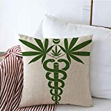 N/A Decorative Throw Pillow Covers Linen Medical Wing Caduceus Symbol Signs Narcotic Pot Symbols Naturopathy Herbal Healthcare Prescription Cushion Pillow Case for Couch Sofa 18x18 inch