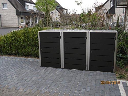 Mülltonnenbox Edelstahl, Modell Eleganza Line 240 Liter als Dreierbox in Granitgrau