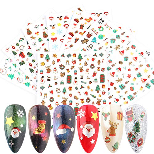 VellMix 8 Sheets Christmas Nail Stickers - 3D Self-Adhesive Winter Nail Decals Snowflakes Santa Snowman Xmas Tree Nail Art Stickers for Women Girls DIY Nail Decoration