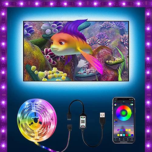 VVGOOD LED Strip 5m, USB led Beleuchtung Hintergrundbeleuchtung, Farbwechsel RGB LED Lichtband, Led TV Hintergrundbeleuchtung, LED Streifen Steuerbar via App, fur TV, PC, Schlafzimmer, Decke