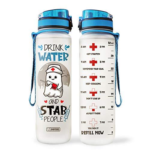 64HYDRO 32oz 1Liter Motivational Water Bottle with Time Marker, Night Shift Nurse Drink Water Stab People Water Bottle - WTB