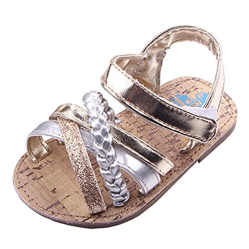 Beeliss Baby Sandals Rubber Sole Summer Shoes (12-18 Months Toddler, Gold, 12_Months)